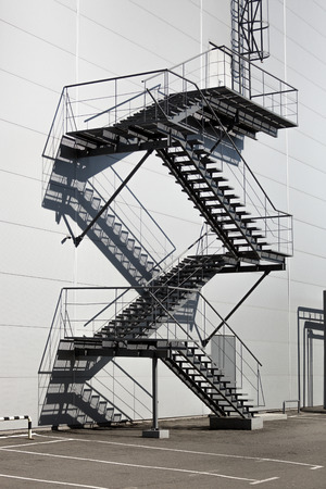 fire exit: Metal staircase on fire exit at big factory