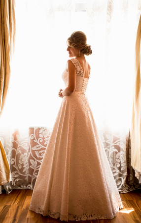 Rear view of elegant bride posing at window in hotel room photo