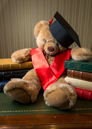 doctoral: Closeup photo of brown teddy bear wearing graduation cap leaning on books