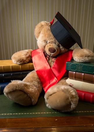 Nahaufnahmefoto der braunen Teddybär trägt Skalenhaube stützte sich auf Bücher Standard-Bild