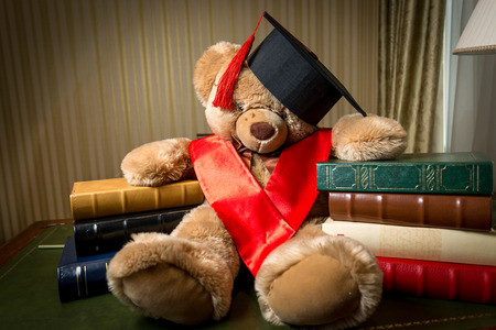 teddy bear: Conceptual shot of child education. Brown teddy bear in graduation cap leaning on books