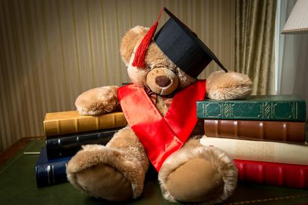 oso de peluche: Tiro conceptual de la educación infantil. Marrón del oso de peluche en casquillo de la graduación inclina en los libros Foto de archivo