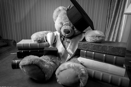 Schwarz-Weiß-Foto von Teddybären in Graduierung Hut auf dem Tisch sitzen