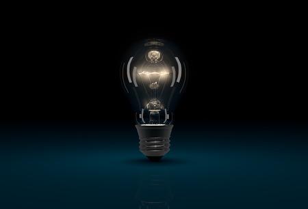 cgi: Realistic CGI glowing light bulb on dark blue background