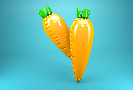 artificially: Two 3d models of inflatable carrots on blue background. Stock Photo