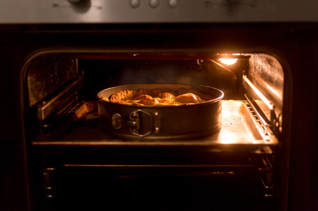 Closeup photo of big apple pie baking in hot oven