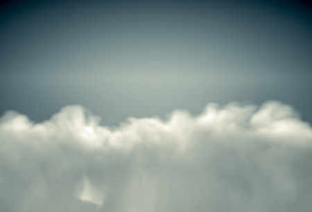 fluffy clouds: View from the top on fluffy clouds lit by sun. Realistic 3d render