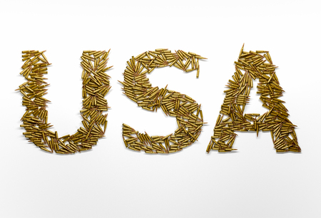 aggression: Concept of USA military aggression. Word USA typed with font made of bullets on white background