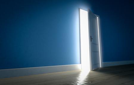 ominous: Light shining through open door in dark room with blue walls and wooden floor. 3d render