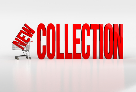 pushcart: Big red new collection text in shopping cart on white background. 3d render Stock Photo