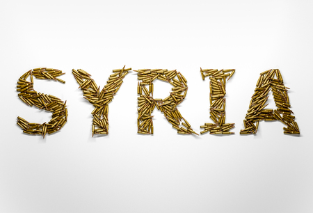 syrian war: Concept of Syrian war crisis. Word Syria typed with font made of bullets Stock Photo