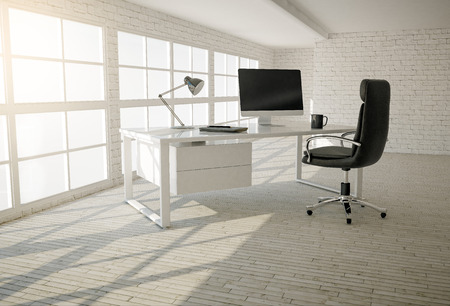 Interior of modern office with white brick walls, wooden floor and large windows Foto de archivo