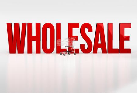 Große rote Wort Großhandel auf weißem Hintergrund neben Warenkorb. 3d render Standard-Bild