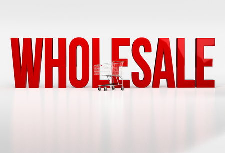 Big red word wholesale on white background next to shopping cart. 3d render