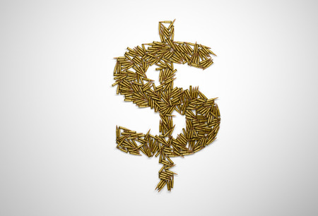terrorism crisis: Concept of bloody money. Dollar sign made of riffle bullets on white background.