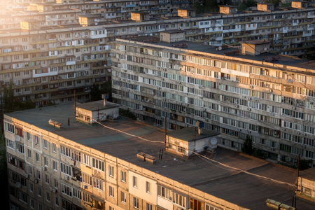 Panoramic view of old buildings in neighborhood at sunset Stock Photo