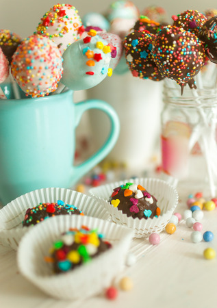 Image with photo filter of candies and pop cake Stock Photo