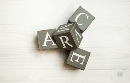 Closeup image of word love written wooden blocks Stock Photo