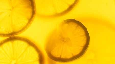 Closeup abstract photo of freshly cut orange and lemon slices