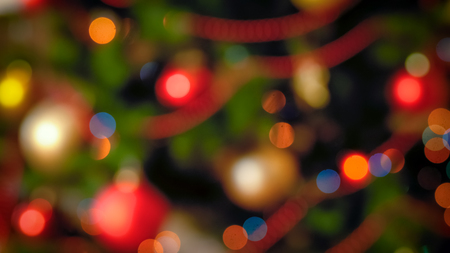 Abstract winter holidays background with Christmas lights bokeh Stock Photo