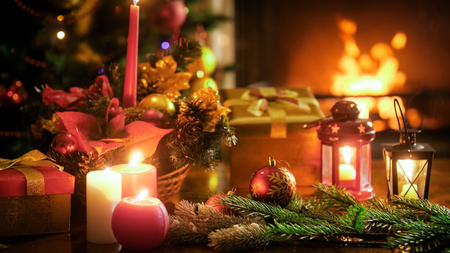 Beautiful image for winter celebrations with traditional Christmas decoration on wooden table