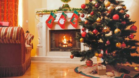 Toned image of beautiful decorated interior for Christmas and New Year