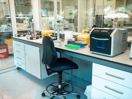 Closeup photo of medical reserach laboratory with special science equipment