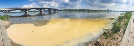 Panoramic image of polluted by toxic wastes dirty riverbank in Kyiv, Ukraine Zdjęcie Seryjne