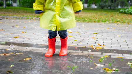 Closeup photo of childs feet in red rubber boots walking over big puddle at park Archivio Fotografico