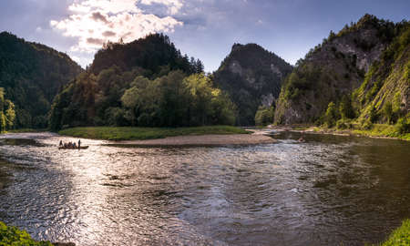 Dunajec River gorge in the Pieniny Mountains, panorama.