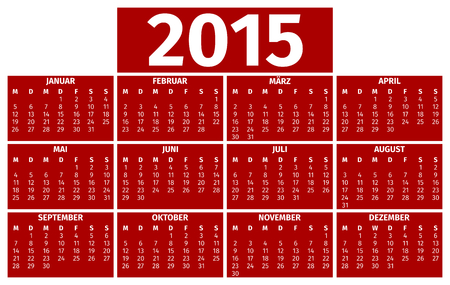 Calendar for the year 2015, German version Vector