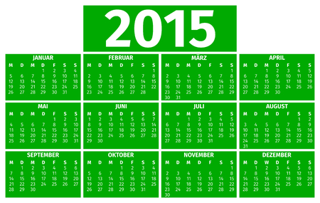 Calendar for the year 2015, German version Vector