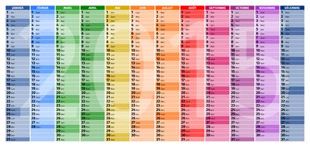 frans: Kalender voor het jaar 2015, type 2, de Franse versie Stock Illustratie