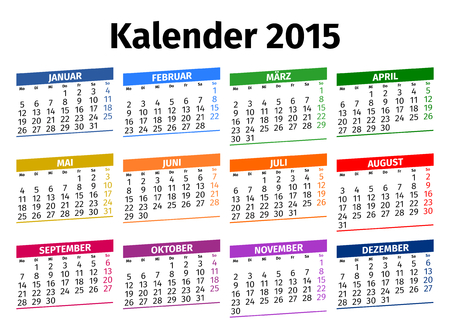 German calendar for the year 2015, type 3 Vector