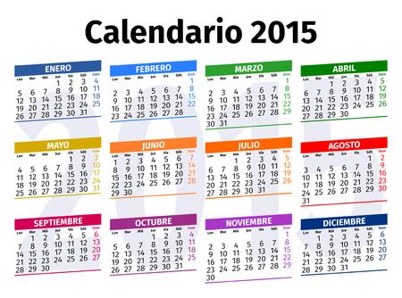 Spanish calendar for the year 2015, type 3 Vector