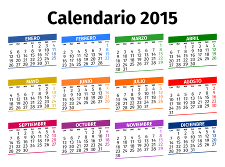 Spanish calendar for the year 2015, type 3 Vector