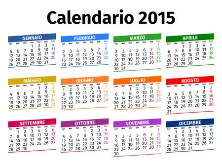 Italian calendar for the year 2015, type 3 Vector