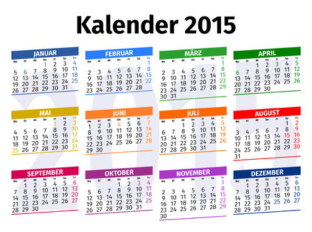 Calendar 2015 with Public Holidays in Germany Vector