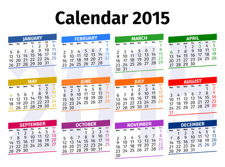 Calendar 2015 with Public Holidays in United Kingdom Vector