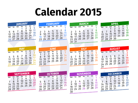 Calendar 2015 with Public Holidays in United States of America Vector