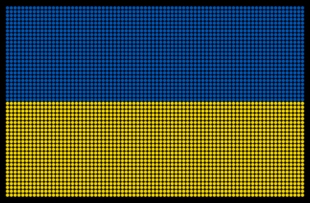 led screen: Ukrainian flag on the LED screen
