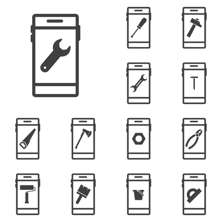 roller: Phone set icons with tools Illustration
