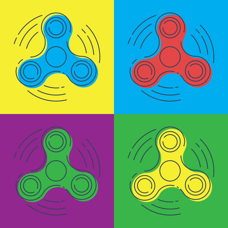Pop art vector Fidget spinner with three arms - a toy for stress and improvement of concentration