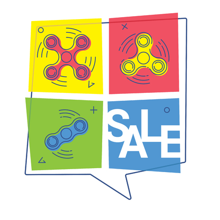Sale of spider fidget of various types. Vector illustration. Shop and internet banners.