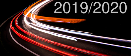 lights of cars with night. Change in 20192020 Stock Photo