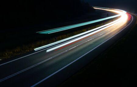 lights of cars with night. long exposure. Foto de archivo - 129909497