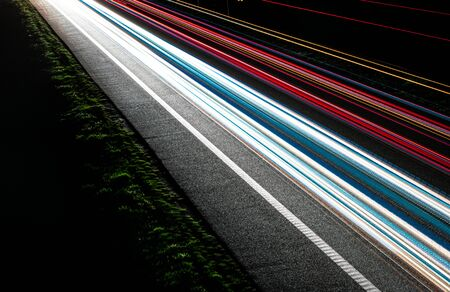 lights of cars with night. long exposure Foto de archivo - 129909500