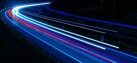 lights of cars with night.long exposure Foto de archivo - 129909502