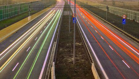 lights of cars with night. long exposure Foto de archivo - 129909506