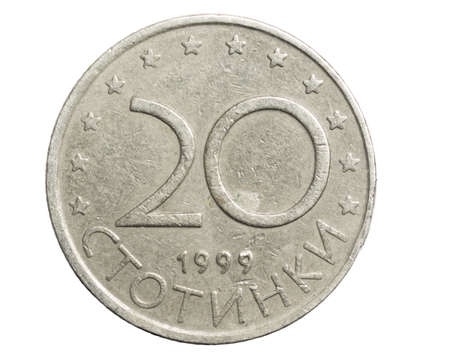 20 bulgarian stotinki coin on a white isolated background